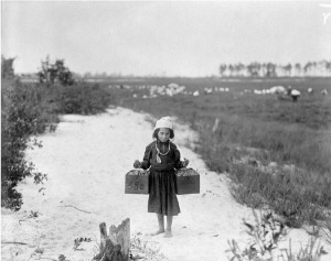 """""""Rose Biodo, Philadelphia, 10 years old. Working 3 summers, minds baby and carries berries, two pecks at a time."""" Photo by Lewis Hine, National Archives public domain."""